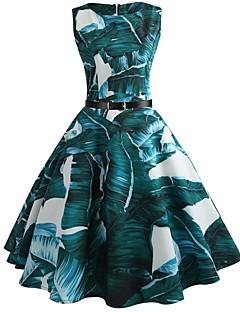 billige Kjoler til nyttårsaften-Dame Vintage Swing Kjole - Blomstret, Trykt mønster Knelang