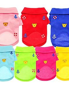 billiga Hundkläder-Hund / Katt / Husdjur T-shirt Hundkläder Enfärgad / Björn / Broderi Blå / Rosa / Ljusblå Bomull / Polyester Kostym För husdjur Dam söt