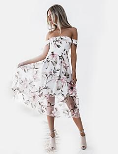 baratos Vestidos de Festa-Mulheres Moda de Rua Bainha Vestido Floral Médio