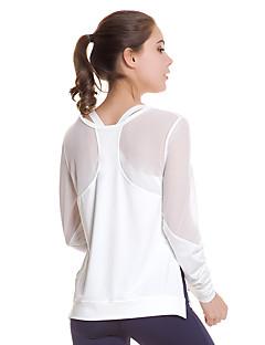 זול -בגדי ריקוד נשים See Through חולצת יוגה - לבן, שחור ספורט צמרות ריצה, כושר וספורט שרוול ארוך לבוש אקטיבי ייבוש מהיר, נשימה סטרצ'י (נמתח)
