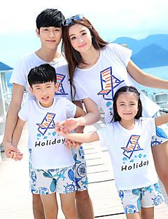 billige Sett med familieklær-Barn Familie Look Geometrisk Kortermet Tøysett