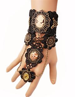 billiga Lolitaaccessoarer-Ringarmband Blom Vintage Gotiskt Svart Vintage Spets Armband / Fotledsband Metallegering Spets Kostymer