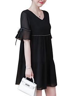 billige Minikjoler-Dame Basale Swing Kjole - Ensfarvet Mini