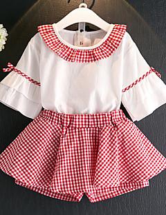 billige Tøjsæt til piger-Børn Pige Ensfarvet / Farveblok / Houndstooth mønster 3/4-ærmer Tøjsæt