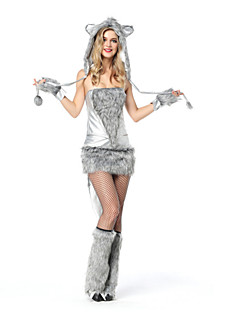 billige Halloweenkostymer-Ulv Cosplay Kostumer Halloween Festival / høytid Halloween-kostymer Grå Mote