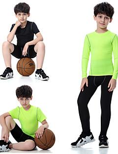 billiga Träning-, jogging- och yogakläder-Pojkar Yogakläder - Grön, Grov Svart, ljusgrön sporter Elastan Leggings / Klädesset Kortärmad / Långärmad Sportkläder Torkar snabbt,