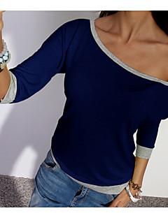 abordables Camisas y Camisetas para Mujer-Mujer Algodón Camiseta, Escote Barco Un Color / Bloques