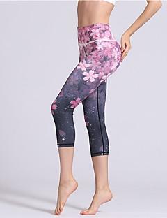 billiga Träning-, jogging- och yogakläder-Dam Yoga byxor - Blå, Rosa sporter Blommig / Botanisk, Sexig 3/4 Strumpbyxor / Cykling Tights / Leggings Sportkläder Tränare, Dans, Yoga