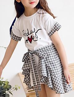 billige Tøjsæt til piger-Børn Pige Ternet Kortærmet Tøjsæt