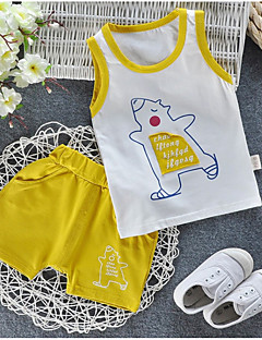 billige Tøjsæt til piger-Børn / Baby Unisex Trykt mønster Uden ærmer Tøjsæt
