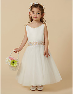 A-Line Ankle Length Flower Girl Dress - Satin   Tulle Sleeveless Scoop Neck  with Bow(s)   Lace by LAN TING BRIDE® 49feb8eb69cb