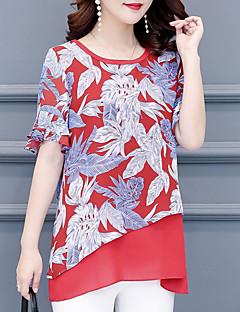 billige Bluse-Løstsiddende Dame - Blomstret Bluse