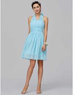 cheap Imperial Blue-A-Line Halter Neck Short / Mini Chiffon Bridesmaid Dress with Ruched by LAN TING BRIDE®