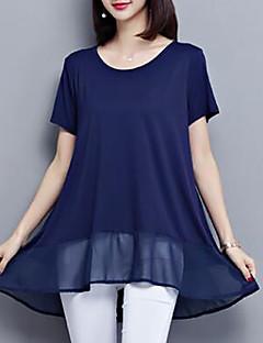 billige Bluse-kvinders plusstørrelse løs bluse - solid farvet rund hals