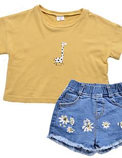 billige Tøjsæt til piger-Børn / Baby Pige Trykt mønster Kortærmet Tøjsæt