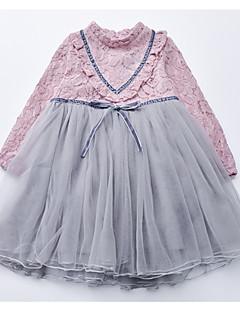 billige Pigekjoler-Børn Pige Farveblok Langærmet Kjole