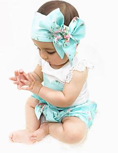 זול סט בגדי תינוק-בנות פעיל / בסיסי כותנה מכנסיים - דפוס לבן / ארוך / פעוטות