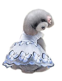 billiga Hundkläder-Husdjur Klänningar Hundkläder Voiles & Skira / Blomma / Blommig / Botanisk Blå / Rosa Bomull / Polyester / Nät Kostym För husdjur
