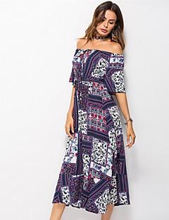Χαμηλού Κόστους Φορέματα Boho-Γυναικεία Απλός / Μπόχο Σιφόν Φόρεμα - Φλοράλ / Γεωμετρικό Μακρύ