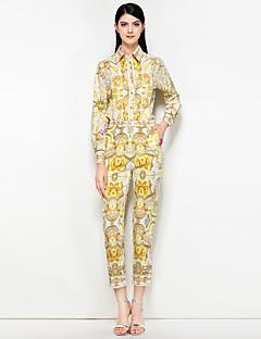 hesapli İki Parça Kadın Takımları-Kadın's Gömlek Yaka Vintage / Sokak Şıklığı Kumsal Gömlek - Desen, Çiçekli Pantolon