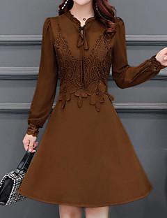 billige Vintage-dronning-Dame Vintage / Gade A-linje Kjole - Ensfarvet Over knæet