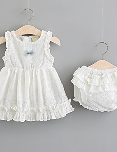billige Babytøj-Baby Pige Ensfarvet / Trykt mønster / Farveblok Uden ærmer Tøjsæt