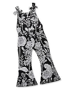 billige Tøjsæt til piger-Børn Baby Pige Sort og Grå Geometrisk Trykt mønster Uden ærmer Tøjsæt