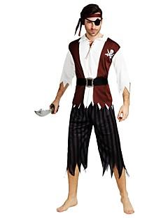 billige Halloweenkostymer-Pirates of the Caribbean Kostume Herre Halloween Halloween Karneval Maskerade Festival / høytid Drakter kaffe Ensfarget Stripet Halloween