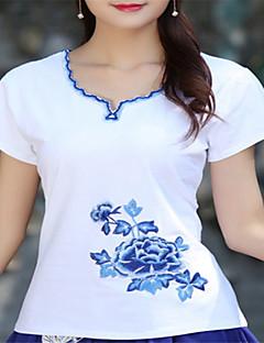 billige T-shirt-T-shirt til kvinder - solid farvet v-hals