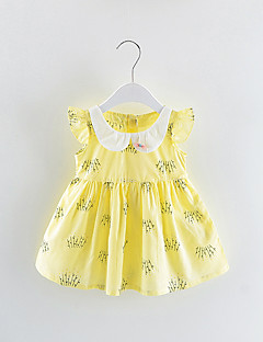 billige Pigekjoler-Baby Pige Farveblok / Patchwork Kortærmet Kjole