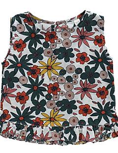 billige Pigetoppe-Børn Pige Blomstret Uden ærmer Skjorte