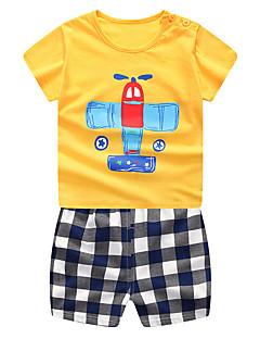 billige Tøjsæt til drenge-Baby Drenge Farveblok / Ternet Kortærmet Tøjsæt
