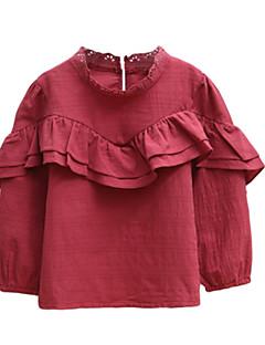 billige Pigetoppe-Børn / Baby Pige Ensfarvet Langærmet Bluse