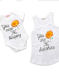 billige Sett med familieklær-Baby Mamma og meg Blomstret / Geometrisk Kortermet Body