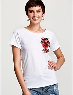 Χαμηλού Κόστους Κέντημα-Γυναικεία T-shirt Εξόδου Κομψό στυλ street Φλοράλ Κεντητό / Κέντημα