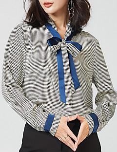 billige Skjorte-Krave Dame - Houndstooth mønster Arbejde Skjorte