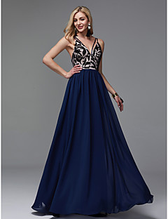 cheap Prom Dresses-Sheath / Column V Neck Floor Length Chiffon See Through Prom / Formal Evening Dress with Embroidery by TS Couture®