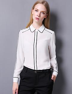 billige Skjorte-Krave Dame - Ensfarvet I-byen-tøj / Arbejde Skjorte / Silke
