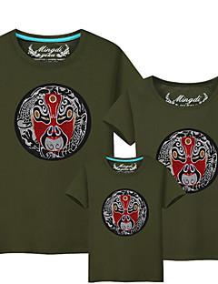 billige Sett med familieklær-3 deler Baby Familie Look Ensfarget / Fargeblokk Kortermet T-skjorte