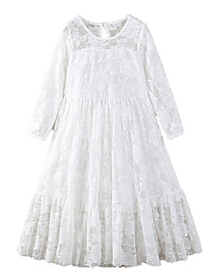 cheap Girls' Long Sleeves Dresses-Kids Girls' Active / Sweet Holiday / Going out Solid Colored Lace / Bow / Mesh 3/4 Length Sleeve Maxi Polyester Dress White / Embroidered
