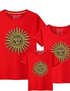 billige Sett med familieklær-3 deler Baby Familie Look Solblomst Ensfarget / Fargeblokk Kortermet T-skjorte