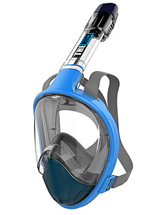 cheap Surfing, Diving & Snorkeling-Diving Mask Anti Fog, Full Face Mask, 180 Degree View Single Window - Snorkeling for Adults Yellow / Fuchsia / Blue