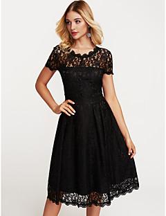 baratos Vestidos de Festa-Mulheres Bainha balanço Vestido - Renda, Sólido Altura dos Joelhos Preto