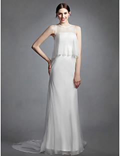 billiga Brudklänningar-Åtsmitande Prydd med juveler Kapellsläp Chiffong Bröllopsklänningar tillverkade med Krås av LAN TING BRIDE® / Genomskinliga