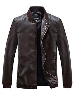 abordables Vestes & Manteaux pour Homme-Veste de cuir Homme - Couleur Pleine, Sports Rétro / Manches Longues