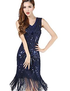 The Great Gatsby 1920s Roaring Twenties Costume Women s Flapper Dress Black    Blue   Golden Vintage Cosplay Chiffon Party Prom Sleeveless Knee Length    ... d2c7621f6f3d
