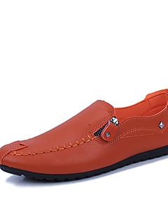 hesapli -Erkek Ayakkabı PU Bahar Makosenler Mokasen & Bağcıksız Ayakkabılar Günlük / Dış mekan için Beyaz / Siyah / Turuncu