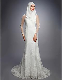 billiga Brudklänningar-A-linje Prydd med juveler Hovsläp Spets / Satäng / Tyll Bröllopsklänningar tillverkade med av LAN TING BRIDE®
