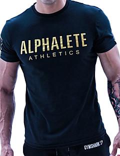 billiga Träning-, jogging- och yogakläder-Herr T-shirt för jogging - Svart, Orange, Blå sporter Bokstav & Nummer T-shirt Kort ärm Sportkläder Mjukhet