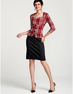 お買い得  レディースドレス-女性用 ワーク シース ドレス チェック ハイライズ ハートカット